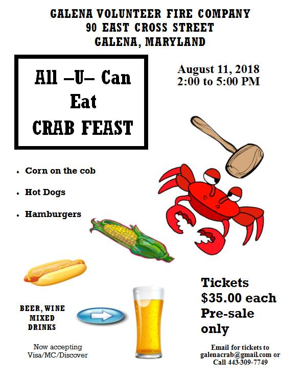 Flyer: All you can eat Crab Feast August 11, 2018